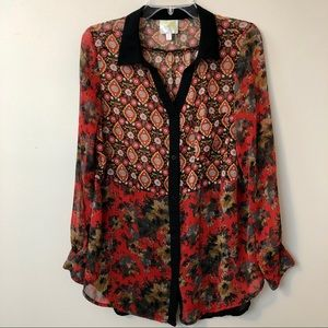 FIG & FLOWER Anthropologie Sheer Button Down Top